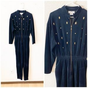 90s Velour Studded Long Sleeve Jumpsuit Playsuit